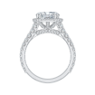 18K White Gold Round Cut Diamond Split Shank Halo Engagement Ring