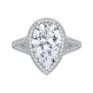 18K White Gold Pear Diamond Halo Engagement Ring with Split Shank (Semi-Mount)