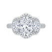 18K White Gold Oval Diamond Three-Stone Halo Engagement Ring (Semi-Mount)
