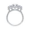 18K White Gold 1 1/2 Ct Diamond Carizza Boutique Semi Mount Engagement Ring fit Oval Center