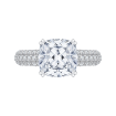 Cushion Diamond Engagement Ring In 18K White Gold (Semi-Mount)