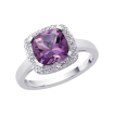 Cushion Cut 2 3/8 ct. Amethyst and Diamond Halo Ring in Sterling Silver (0.05 cttw)