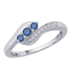 Blue and White Diamond Twist Ring in 10K White Gold (1/4 cttw)