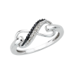 Two Row Infinity Black and White Diamond Ring in Sterling Silver (0.07 cttw)