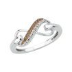 .07 ct Sterling Silver Brown and White Diamond Fashion Ring