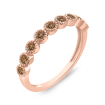 10K Pink Gold 1/3 ct Brown Diamond Wedding Band Fashion Ring