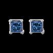 14K White Gold 1 Ct Blue Diamond Princess Studs